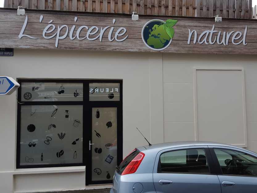 Impact communication fabrication enseigne épicerie o'naturel en Normandie