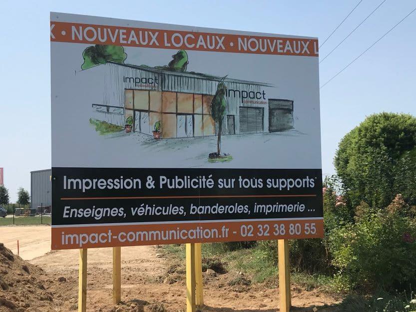 impact communication réalisation de signalétique pour chantier à Marbeuf