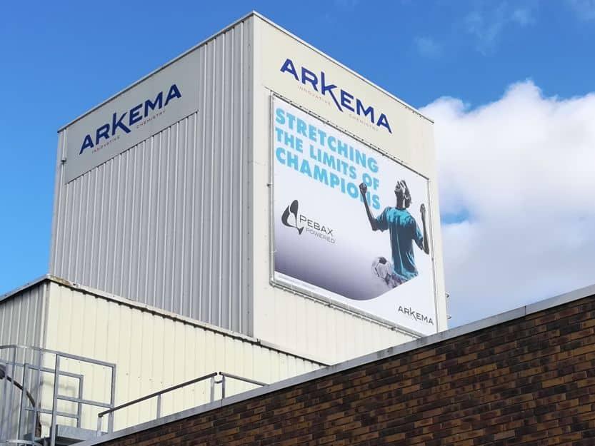 impact communication réalisation de signalétique extérieure toile tendue Arkema à Serquigny