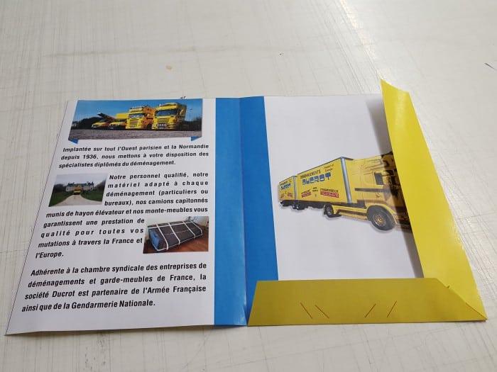 impact communication impression pochette à rabat pour Ducrot déménagement à Evreux (27)