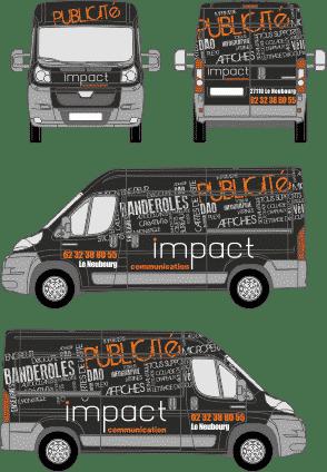 Impact communication création de maquette de covering de véhicules avant pose