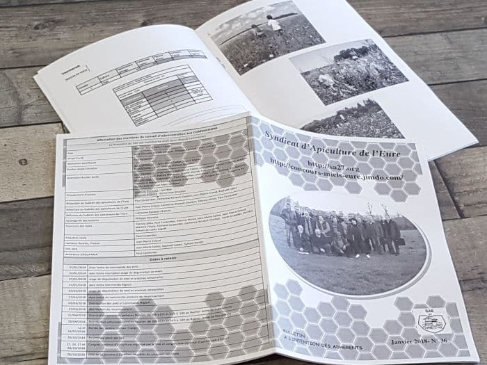 impact communication réalisation et impression brochures noir et blanc pour le syndicat d'apiculture de l'Eure (27)
