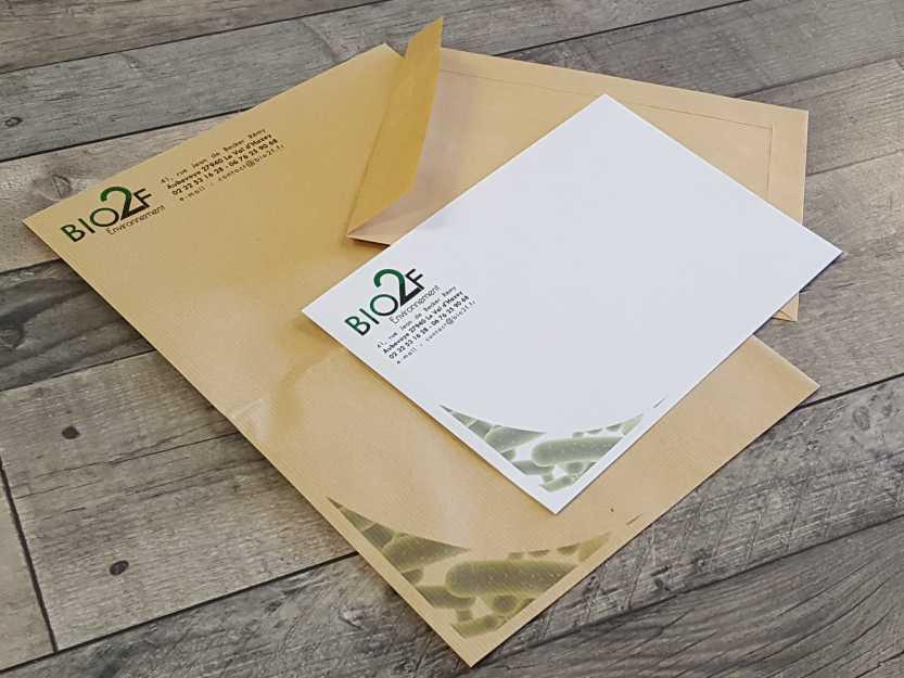 impact communication impression enveloppes pour Bio 2F Environnement à Aubevoye (27)