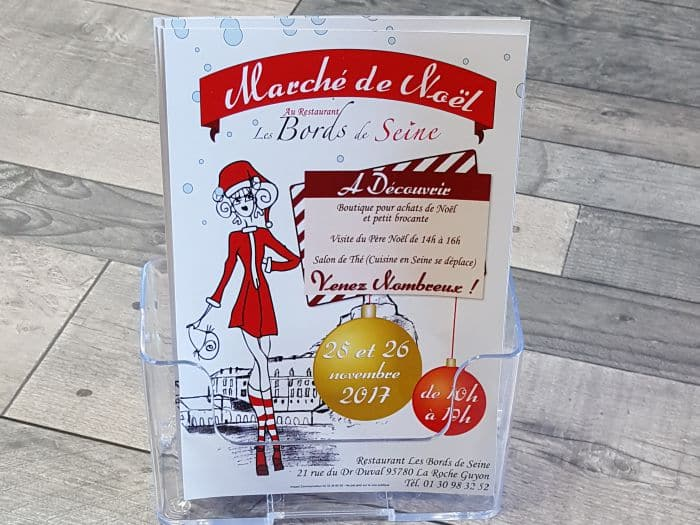Impact communication impression flyers restaurant Les Bords de Seine à la Roche Guyon (95)