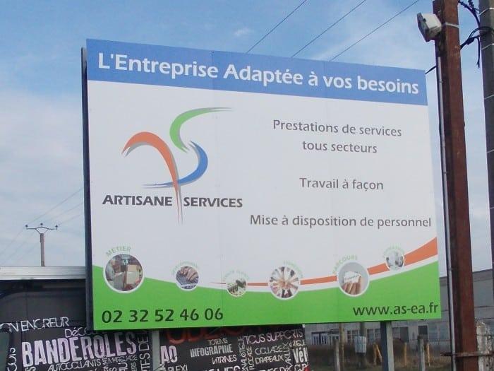 impact communication fabrication de panneau grand format 4x3 pour Artisane Services à Courcelles sur Seine (27)