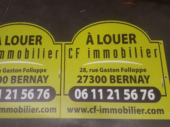 Impact communication fabrication de panneaux rigides pour signalétique CF Immobilier à Bernay (27)