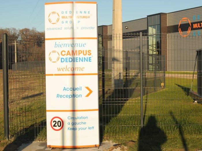 impact communication réalisation de signalétique extérieure pour Dedienne à Saint Aubin sur Gaillon (27)