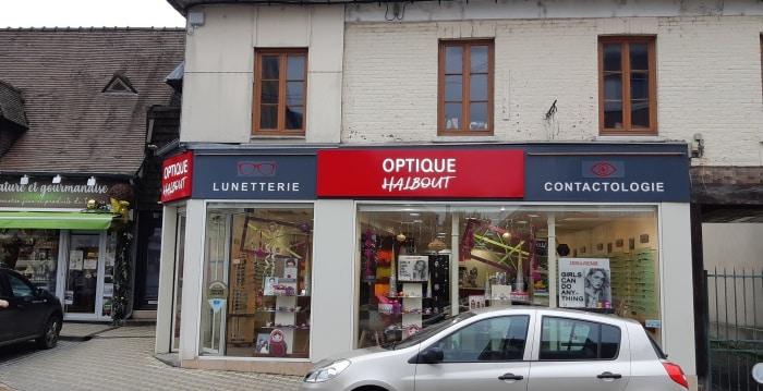 Impact communication devanture magasin pour l'opticien Halbout au Neubourg après