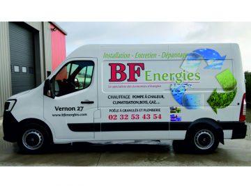 Marquage publicitaire d'un véhicule Master L2H2 pour BF Energies situé à Vernon dans l'Eure (27)