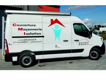 Marquage publicitaire d'un véhicule Master L2H2 pour l'entreprise CMI situé à Marbeuf dans l'Eure (27)