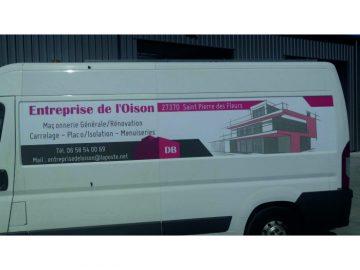 Marquage publicitaire d'un véhicule Master L3H2 pour l'entreprise de l'Oison situé à Saint-Pierre-des-Fleurs dans l'Eure (27)